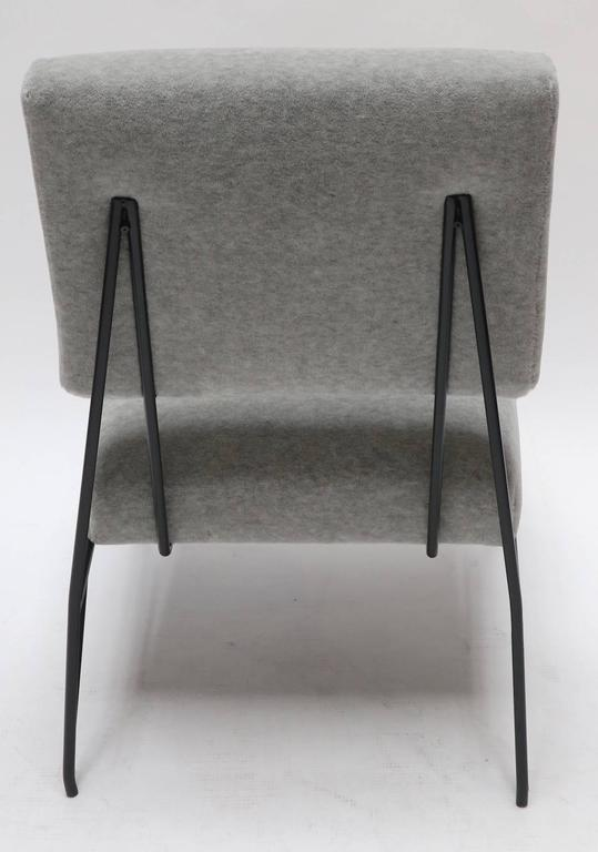 Pair of Custom 1960s Style Metal Chairs in Gray Alpaca In Excellent Condition For Sale In Los Angeles, CA