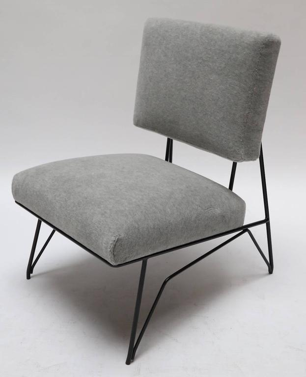 Pair of Custom 1960s Style Metal Chairs in Gray Alpaca For Sale 1