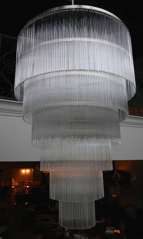 Six-Tiered Glass Rod Chandelier, 1970s 4