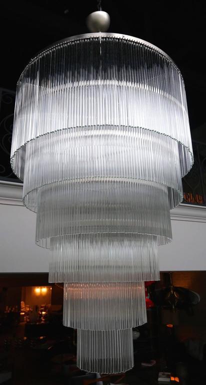 Six-Tiered Glass Rod Chandelier, 1970s 5
