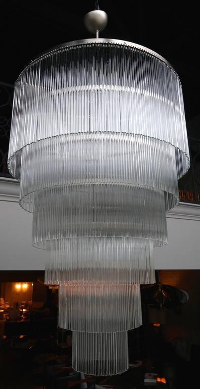 Six-Tiered Glass Rod Chandelier, 1970s 9