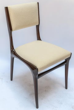 Set of 12 Carlo de Carli Dining Chairs in Ivory Linen, 1950s