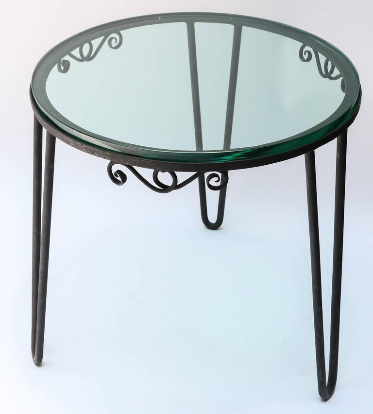 Mid-20th Century Round Metal 1960s Italian Side Table with Glass Top For Sale