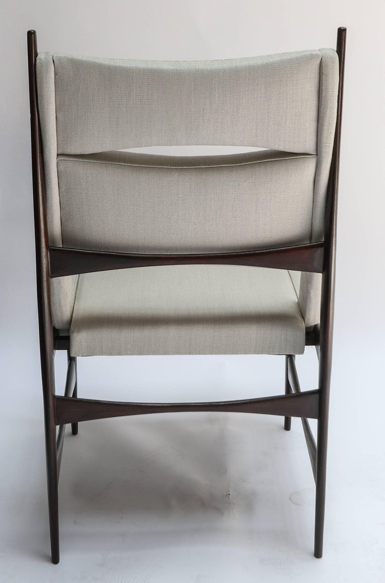 Set of Ten 1960s Brazilian Dining Chairs in Beige Linen In Good Condition For Sale In Los Angeles, CA