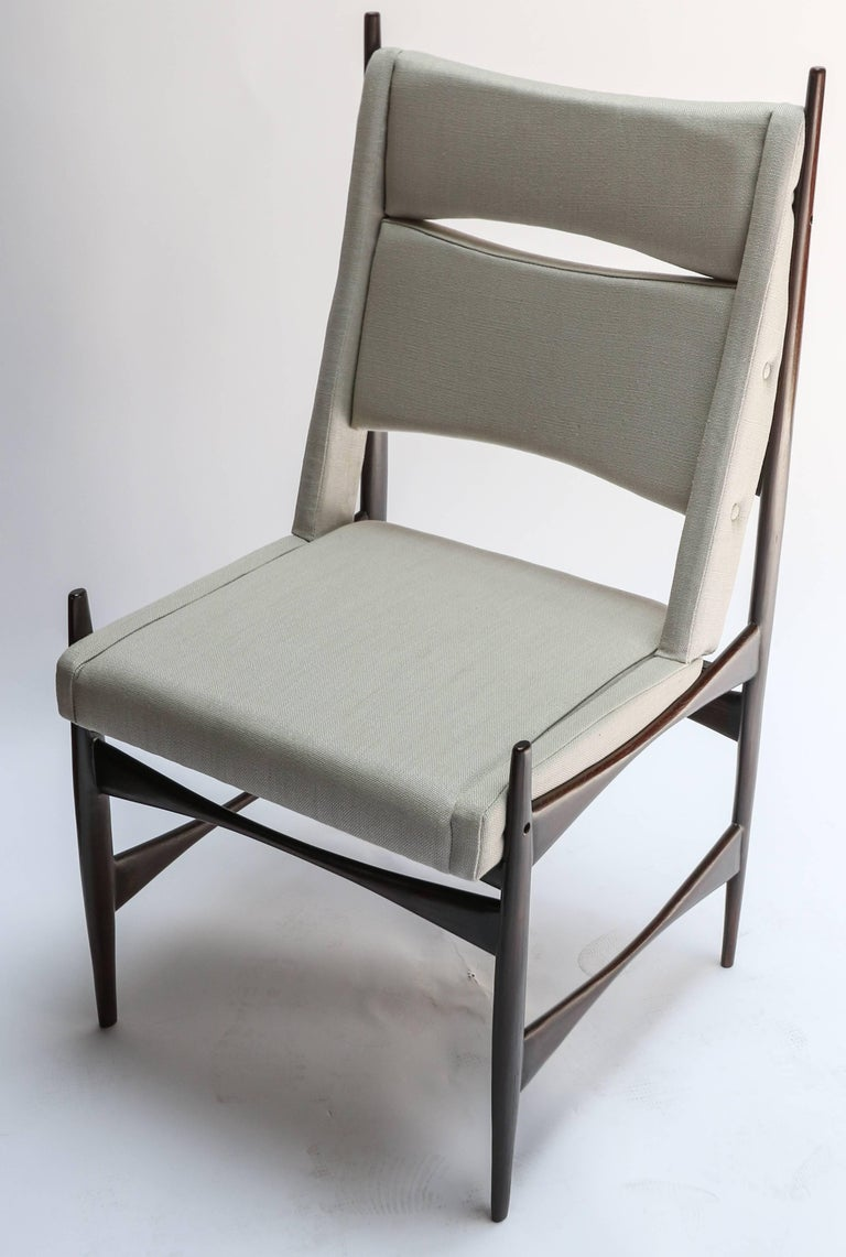 Mid-20th Century Set of Ten 1960s Brazilian Dining Chairs in Beige Linen For Sale