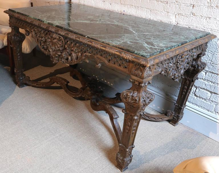 Impressive 1820s Louis XIV Italian carved wood console table with green marble top