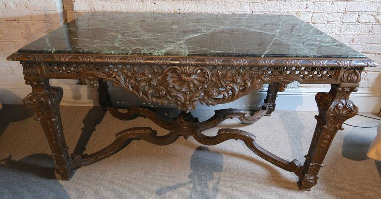 19th Century Louis XIV Italian Console Table with Green Marble Top In Good Condition For Sale In Los Angeles, CA