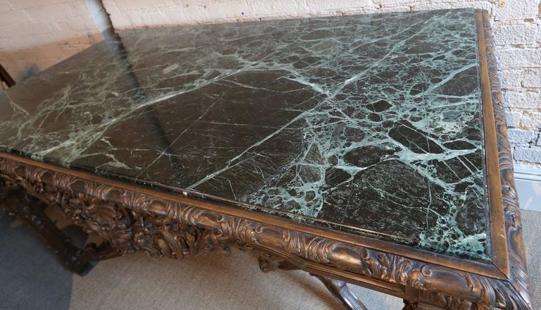 19th Century Louis XIV Italian Console Table with Green Marble Top For Sale 1