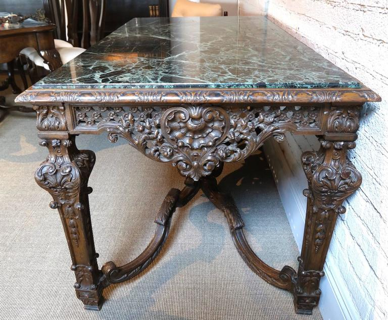 19th Century Louis XIV Italian Console Table with Green Marble Top For Sale 2