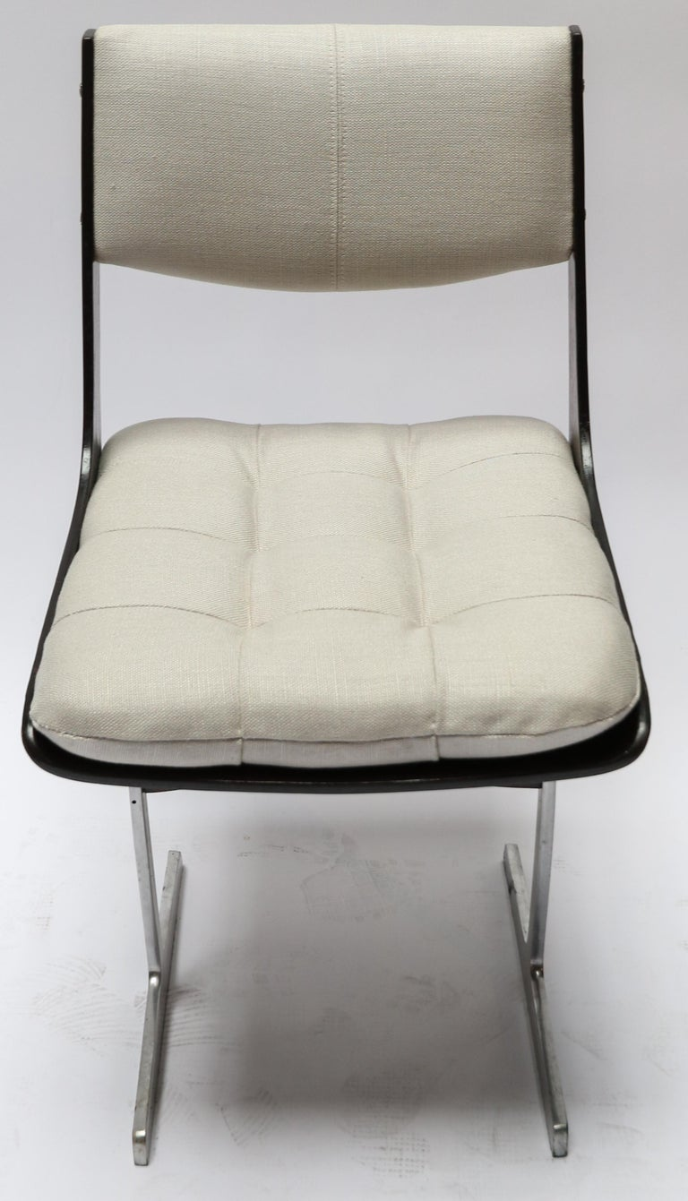 Set of 10, 1960s Brazilian Jacaranda Tufted Dining Chairs in Beige Linen For Sale 1