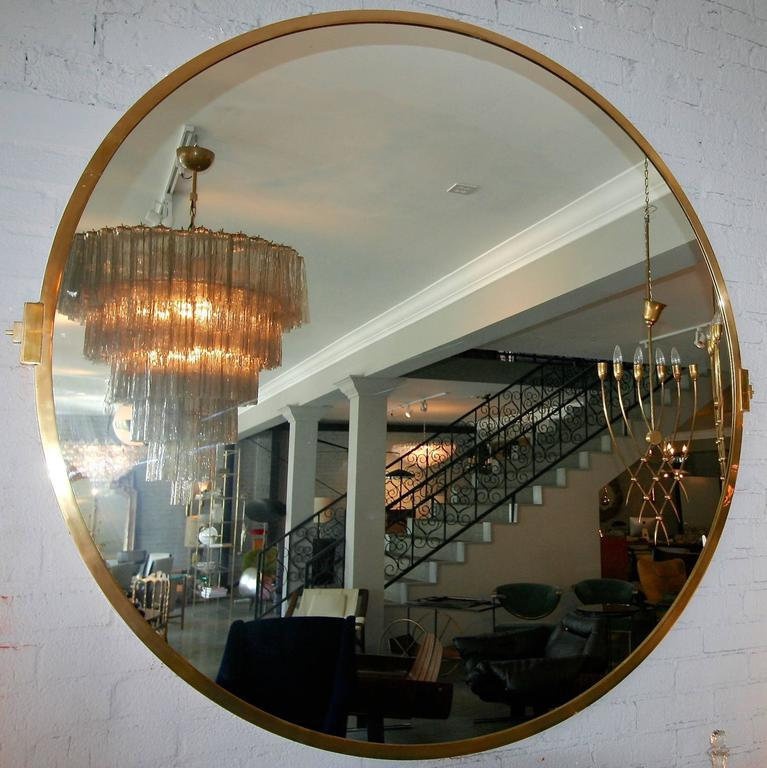 American Large Custom Round Brass Mirror For Sale