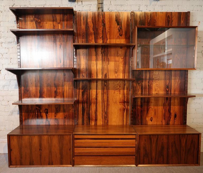 Mid-Century Modern 1960s Adjustable Brazilian Jacaranda Wood Shelving Unit For Sale