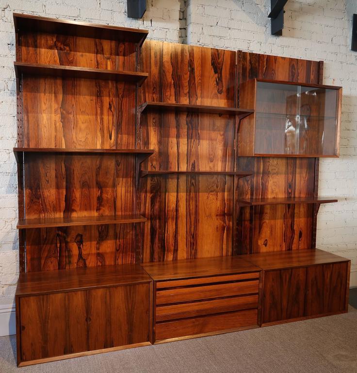 Mid-20th Century 1960s Adjustable Brazilian Jacaranda Wood Shelving Unit For Sale