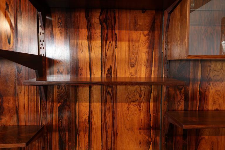 Glass 1960s Adjustable Brazilian Jacaranda Wood Shelving Unit For Sale