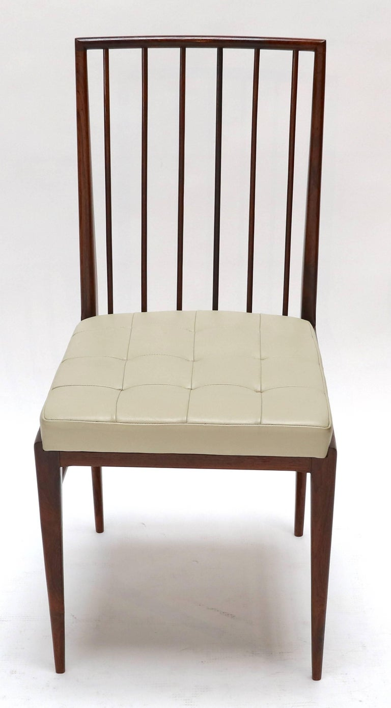 Mid-Century Modern Set of Six 1940s Tenreiro Style Brazilian Jacaranda Dining Chairs For Sale