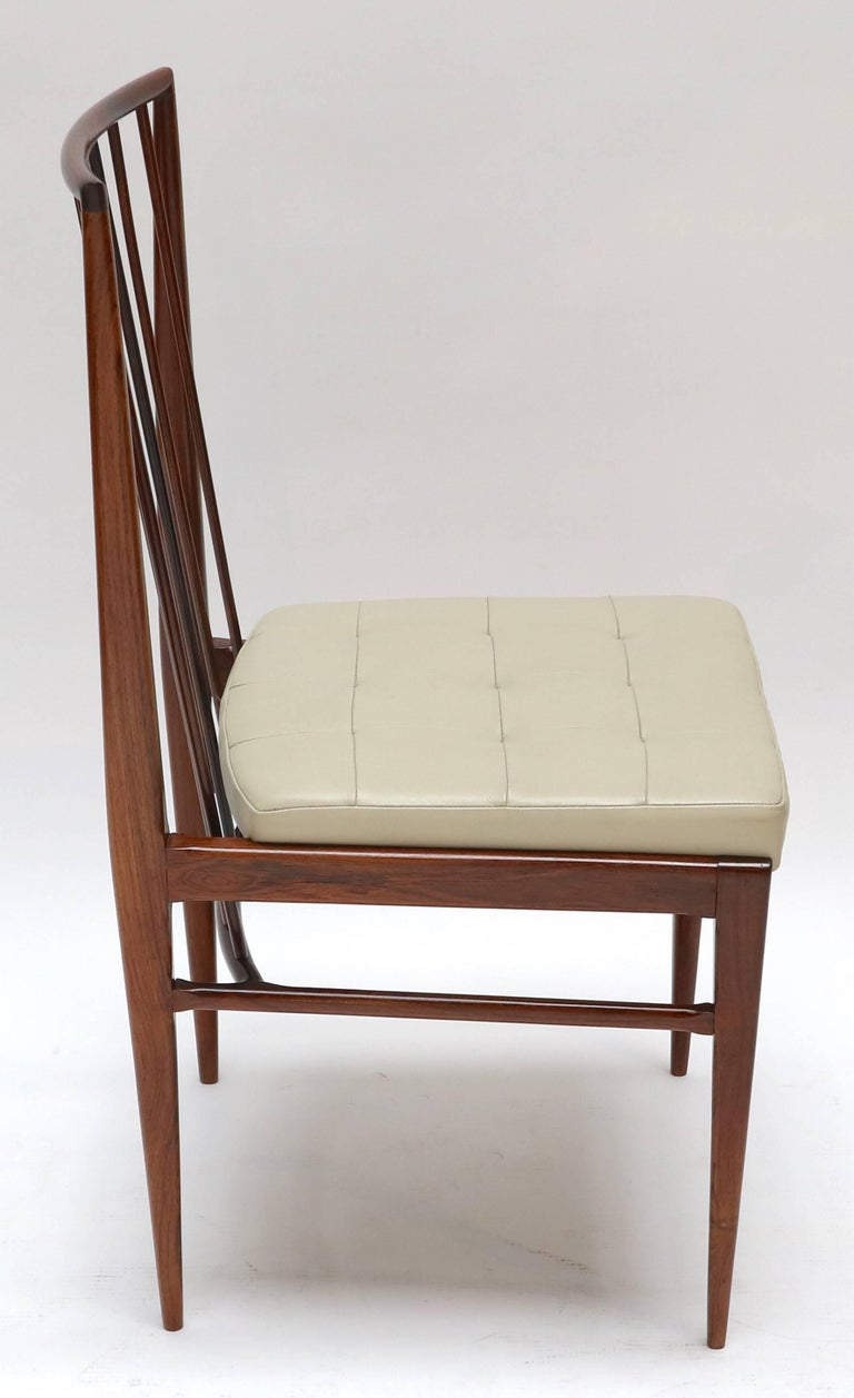 Set of Six 1940s Tenreiro Style Brazilian Jacaranda Dining Chairs In Good Condition For Sale In Los Angeles, CA