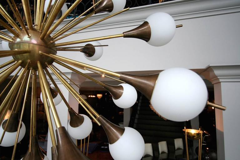 Brass Sputnik Chandelier with White Balls 8
