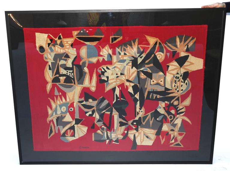 Brazilian Embroidered Abstract Red Tapestry by Genaro de Carvalho, 1960s In Good Condition For Sale In Los Angeles, CA