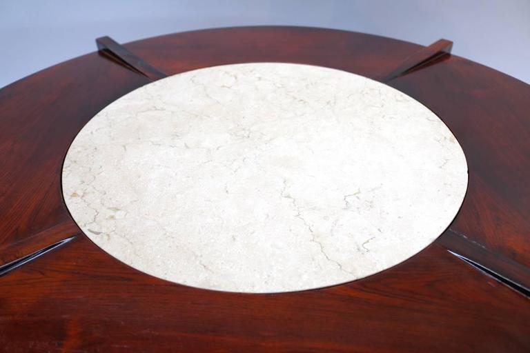 Brazilian Jacaranda Wood and Cream Marble 1960s Round Coffee Table In Good Condition For Sale In Los Angeles, CA