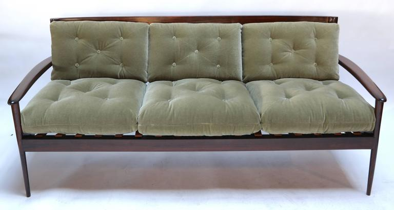 Brazilian jacaranda wood 1960s three-seat sofa by Rino Levi upholstered in green mohair.  A pair of matching armchairs (LU81754799563) is also available.