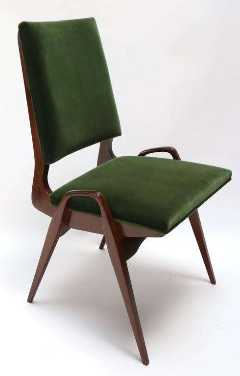 American Set of Custom Gio Ponti Style Dining Chairs in Walnut For Sale