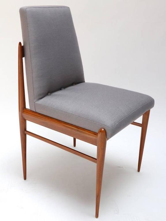 Linen Set of Ten 1960s Brazilian Caviuna Dining Chairs by L'Atelier For Sale