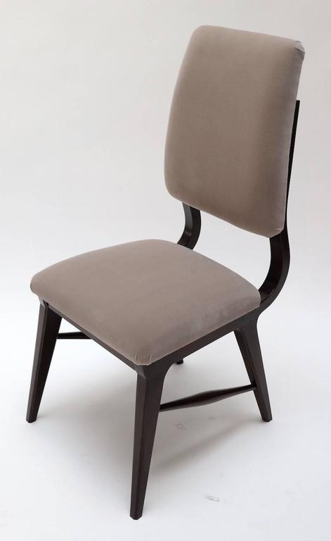 Set of ten 1970s Brazilian dining chairs, upholstered in grey Belgian velvet.