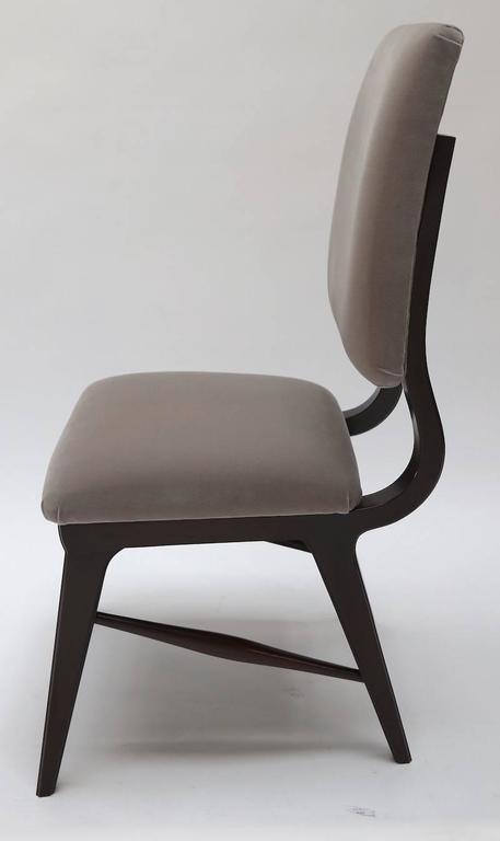 Mid-Century Modern Set of Ten 1970s Brazilian Dining Chairs in Grey Velvet For Sale