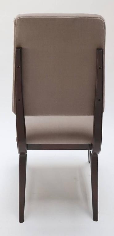 Late 20th Century Set of Ten 1970s Brazilian Dining Chairs in Grey Velvet For Sale