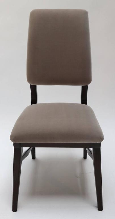 Set of Ten 1970s Brazilian Dining Chairs in Grey Velvet In Good Condition For Sale In Los Angeles, CA