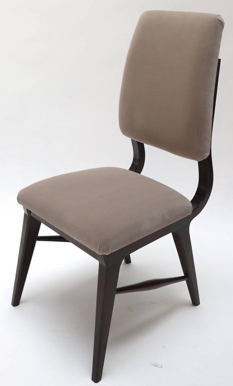 Set of Ten 1970s Brazilian Dining Chairs in Grey Velvet For Sale 1