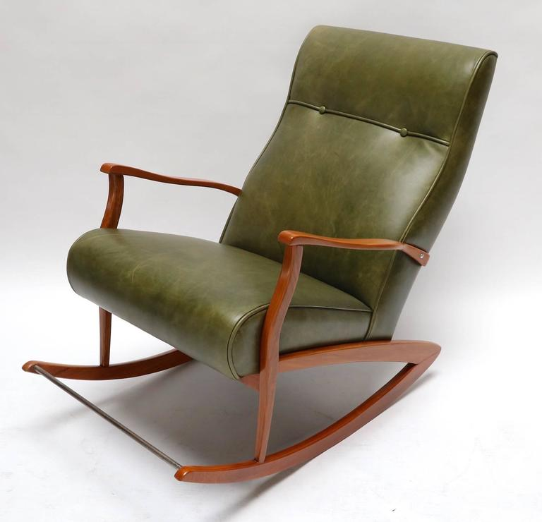 Mid-Century Modern 1960s Brazilian Rocking Chair in Green Leather For Sale