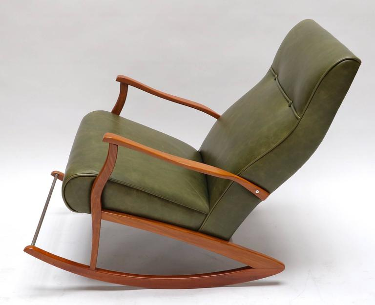 1960s Brazilian Rocking Chair in Green Leather In Good Condition For Sale In Los Angeles, CA