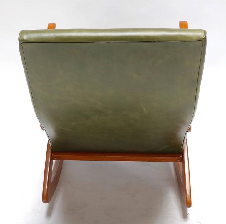 Mid-20th Century 1960s Brazilian Rocking Chair in Green Leather For Sale