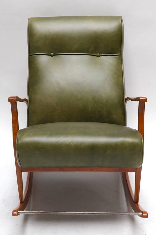 1960s Brazilian Rocking Chair in Green Leather For Sale 1