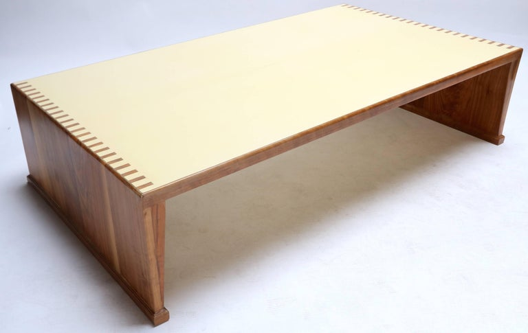 Custom Walnut Coffee Table With Lacquered Top For Sale At 1stdibs