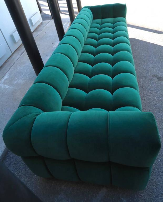 American Custom Tufted Green Velvet Sofa with Brass Base For Sale