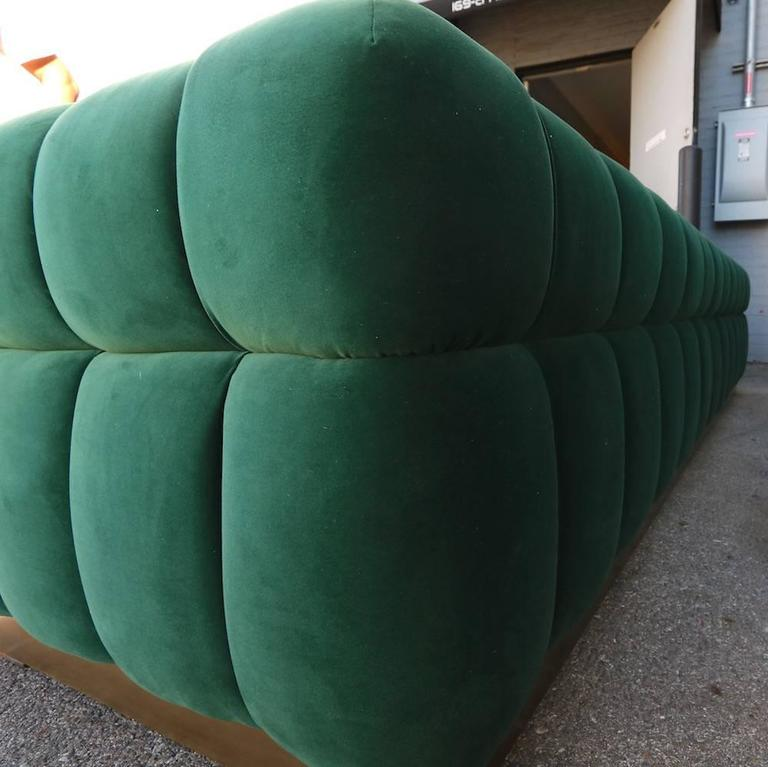 Custom Tufted Green Velvet Sofa with Brass Base In Excellent Condition For Sale In Los Angeles, CA
