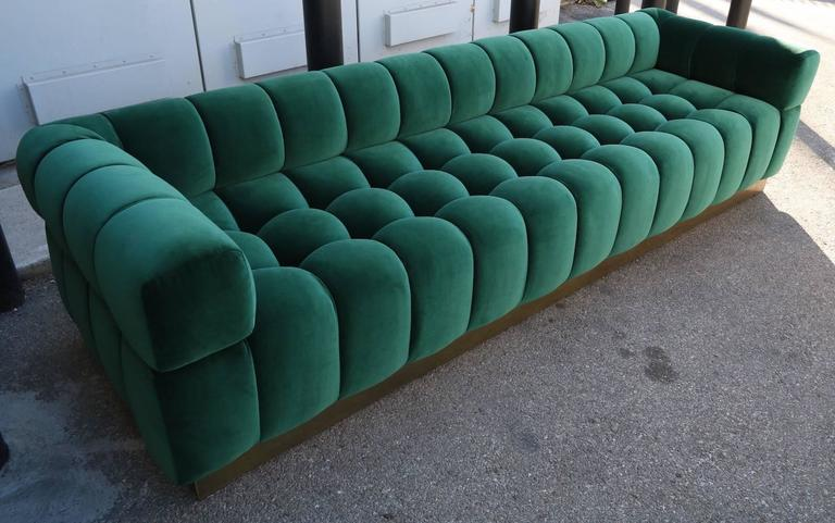 Contemporary Custom Tufted Green Velvet Sofa with Brass Base For Sale