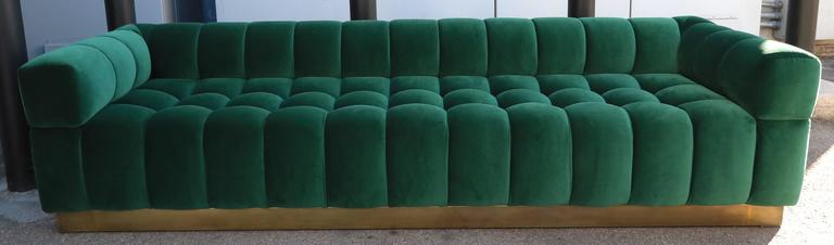 Mid-Century Modern Custom Tufted Green Velvet Sofa with Brass Base For Sale