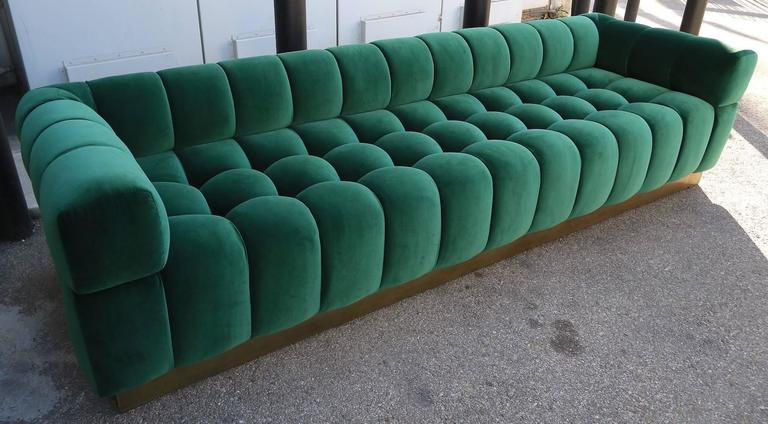 Custom Tufted Green Velvet Sofa with Brass Base For Sale 1