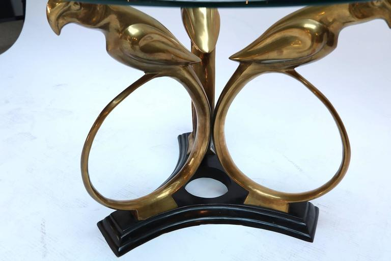 Brass and Metal 1960s Parrot Side Table with Glass Top 4