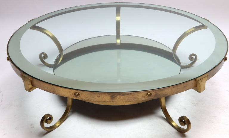 1950s Mexican Round Brass Coffee Table with Mirrored Glass 3