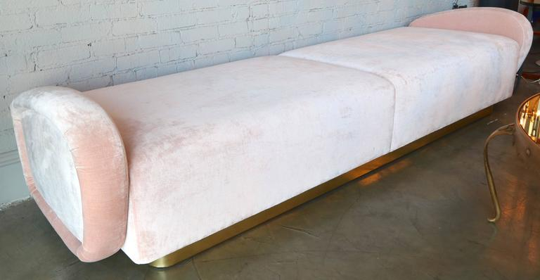 Mid-Century Modern Custom 1960s Italian Style Velvet Sofa or Bench with Brass Base For Sale