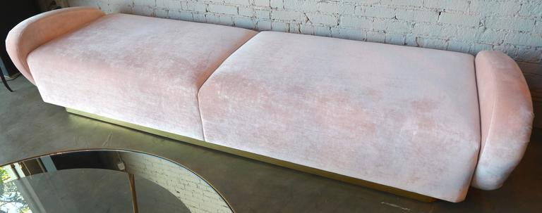 Contemporary Custom 1960s Italian Style Velvet Sofa or Bench with Brass Base For Sale