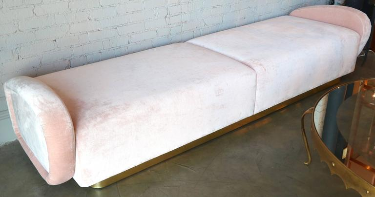 Custom 1960s Italian Style Velvet Sofa or Bench with Brass Base For Sale 2