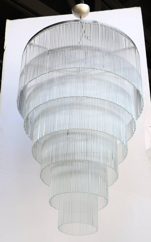 Six-Tiered Glass Rod Chandelier, 1970s 3