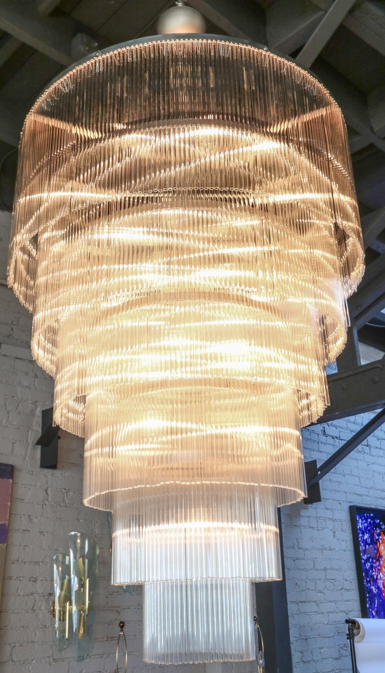 Six-Tiered Glass Rod Chandelier, 1970s For Sale 1