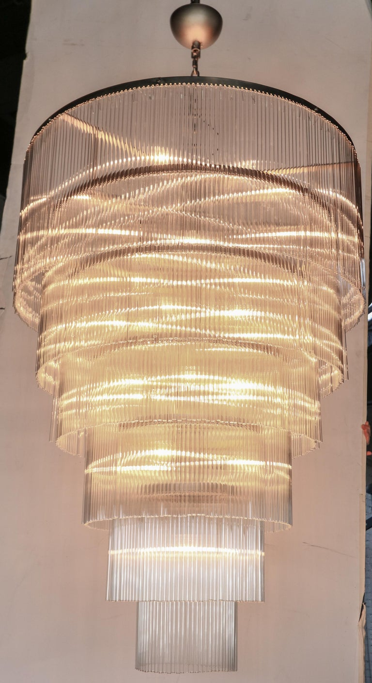 Six-Tiered Glass Rod Chandelier, 1970s For Sale 3