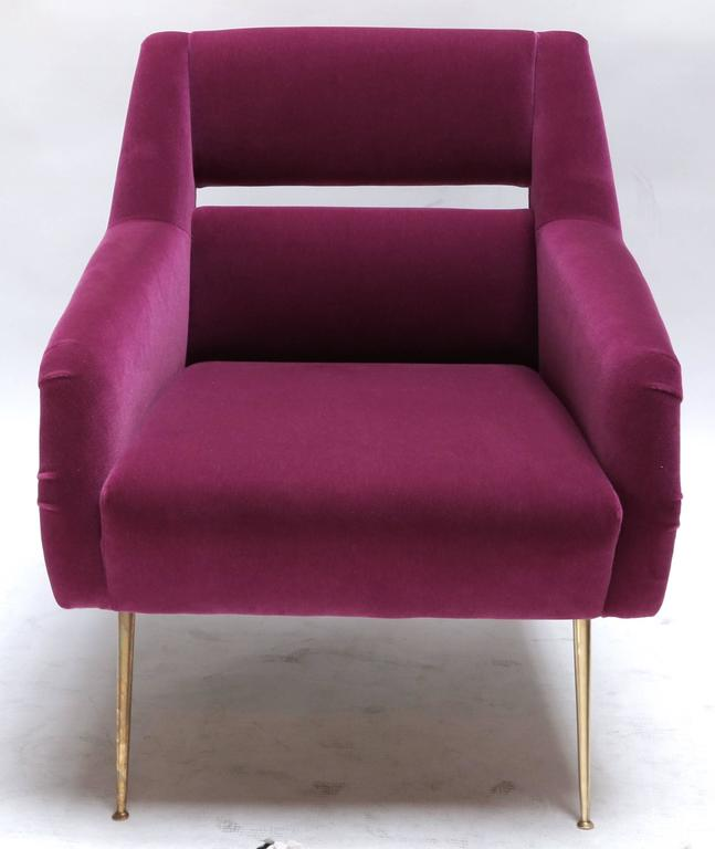Custom 1960s Italian style armchairs with brass legs and upholstered in fuchsia mohair. Can be done in other fabrics and colors.